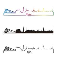 Riga skyline linear style with rainbow vector
