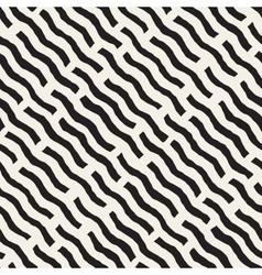 Seamless Hand Drawn Daigonal Wavy Lines vector