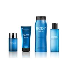 set blue cosmetic bottles packaging mockup vector image
