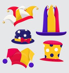 Set fanny jester hats vector