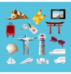 set icons related to journey vector image
