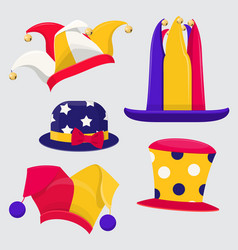 set of fanny jester hats vector image