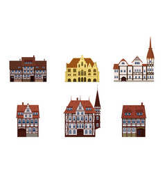set old buildings houses facades europe vector image