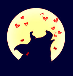 silhouette of pig howling at the full moon vector image
