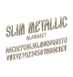 slim metallic alphabet witn numbers dollar and vector image