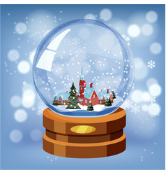 snow globe with shiny snow and winter landscape vector image