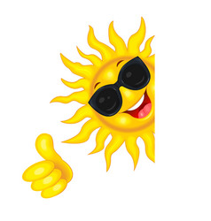 sun in sunglasses wishes good luck vector image