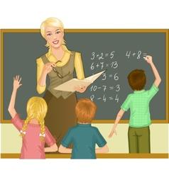 Teacher at blackboard explains children vector image