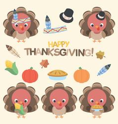 Thanksgiving turkey set vector