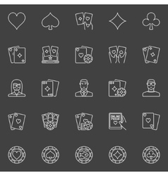 Thin line poker icons vector