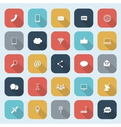 trendy communication icons set in flat design vector image