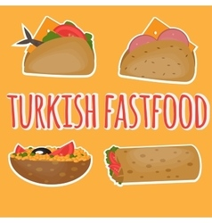 Turkish Fast food Traditional street food vector