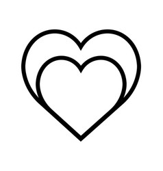Two hearts icon line style very simple vector