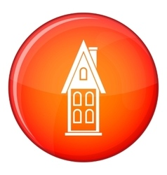 Two storey house with attic icon flat style vector