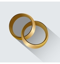 Two wedding rings symbol of love vector
