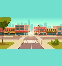 urban street landscape crossroads traffic lights vector image