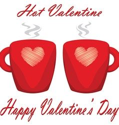 valentine day couple of cups white background Hot vector image