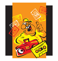 Vintage disco boy with boombox and audio cassettes vector