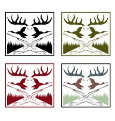 Vintage labels set with hunting theme vector