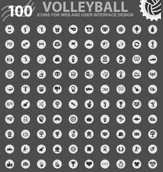 Volleyball icons set vector