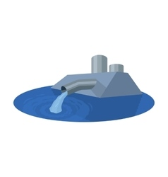 Water treatment plant icon in cartoon style vector