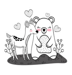 wild bear and deer cartoons vector image