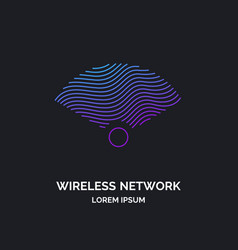wireless network sign on dark background vector image
