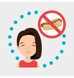 woman cartoon fast food prohibited vector image