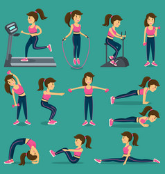 Woman that does physical exercise in sortswear vector