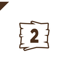 wooden alphabet blocks with number 2 in wood vector image