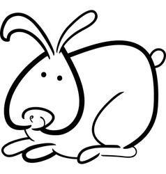 cartoon bunny for coloring book vector image
