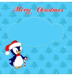 Christmas card with little penguin vector image