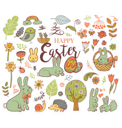 cute easter symbols vector image