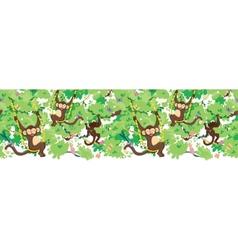 Happy monkeys horizontal seamless pattern border vector image