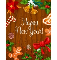 New Year poster on wooden background vector image vector image