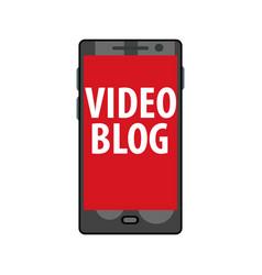Online video blog on smartphone live stream vector