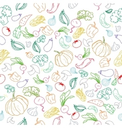 Seamless pattern color vegetables background vector image