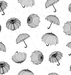 seamless rainy pattern with umbrellas and raindrop vector image