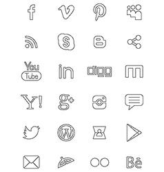 Social network black logos vector
