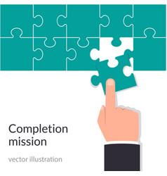 completion mission concept businessman holding vector image
