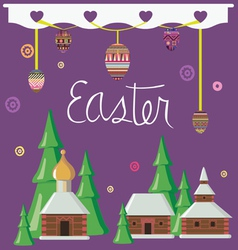easter greeting card with rural constructions vector image