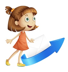girl with arrow and envelop vector image vector image