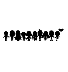 group of childrens silhouettes vector image vector image