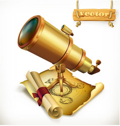 horoscope and telescope astrology 3d icon vector image