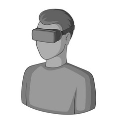 man with virtual reality goggles icon monochrome vector image vector image