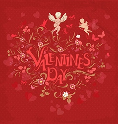 Red retro greeting card valentine day vector image vector image