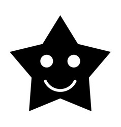 Smiling star black color icon vector