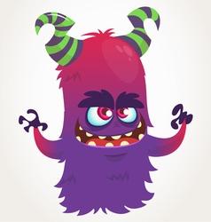Cute cartoon purple horned monster vector image vector image