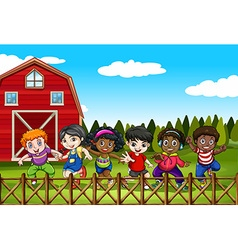 Farm scene with many children on the yard vector image