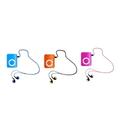 Real colored mp3 players with headphones isolated vector image